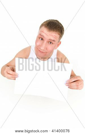 Man Holding A Clean Sheet Or Paper