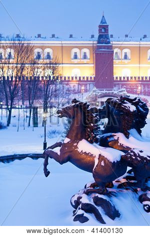 Fountain On Manege Square, Moscow In Winter