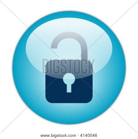 The Glassy Aqua Blue Unlock Icon Button