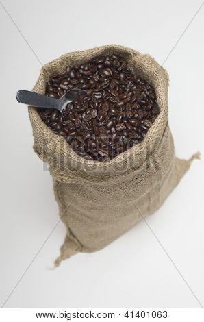 Fresh coffee beans in a burlap sack with scoop isolated over white background
