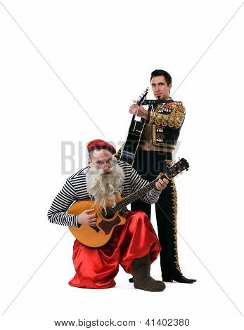 Old man and toreador playing guitars