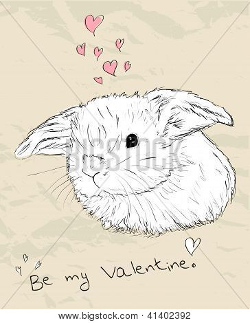 Vintage romantic card with cute animal.