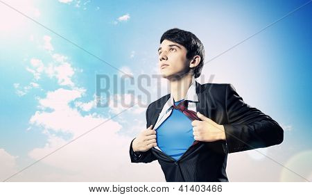 Young superhero businessman