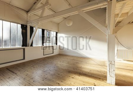 interior old loft, beams and wooden floor