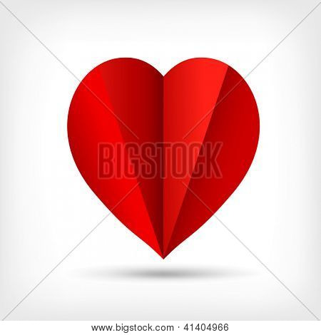 Abstract red origami paper heart. Valentine's day greeting card. Vector eps10 illustration