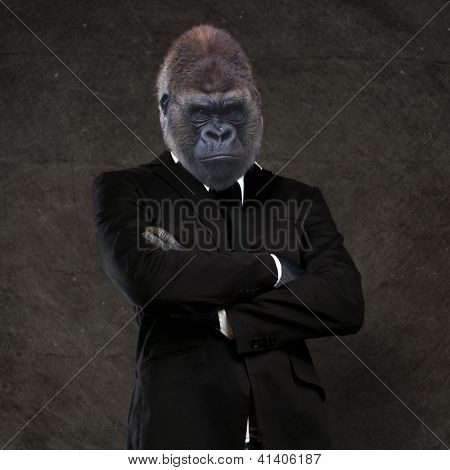 Gorilla businessman wearing a black suit against a grunge background