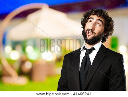 Portrait Of An Unhappy Man at a restaurant