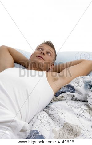 Resting Young Man Looking Upward
