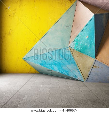Abstract geometric background made of colored rusty metal