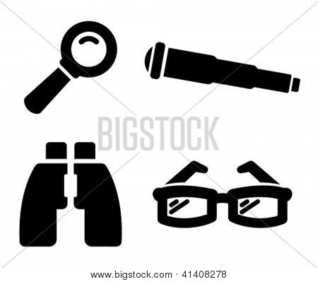 Search icons: magnifying glass, telescope, binoculars and glasses