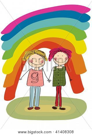 Two best friends smiling on rainbow background