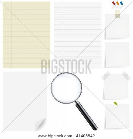 Große Papier-Satz mit Lupe, Isolated On White Background mit Verlaufsgitter, Vector Illustration