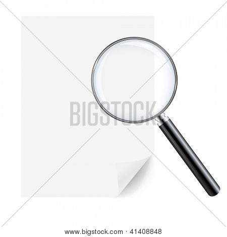 Lupa y hoja de papel, aislado sobre fondo blanco, con malla de degradado, Vector ilust