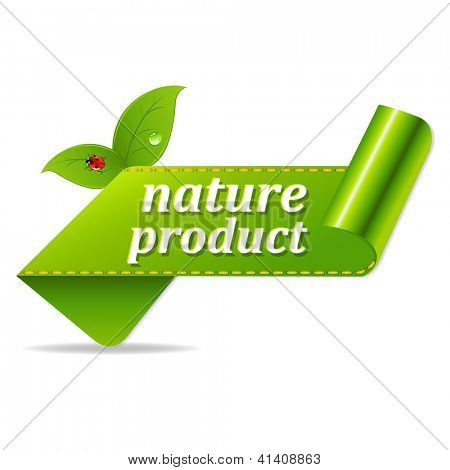 Organic Green Tags With Gradient Mesh, Isolated On White Background, Vector Illustration