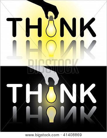 Think Text With A Hand Placing A Bright Glowing Light Bulb In Place Of Letter I