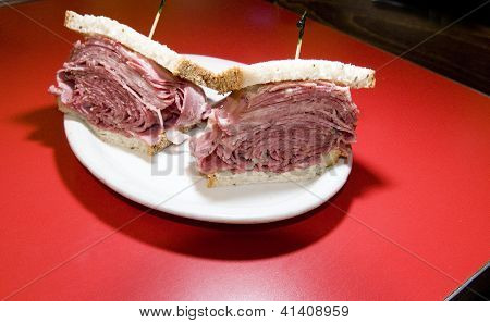 Combination Tongue Corned Beef Sandwich Seeded Rye Bread