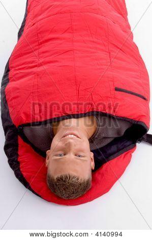 Man In Sleeping Bag Lying