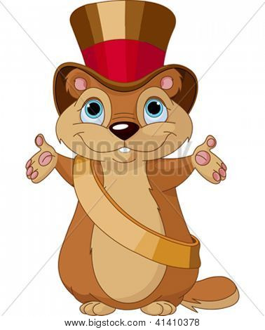 Happy groundhog on his day with mayor hat