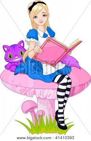 Girl dressed up like Alice in wonderland,  holding book
