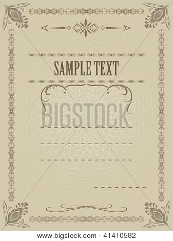 Certificate vector template with copy space for your text.