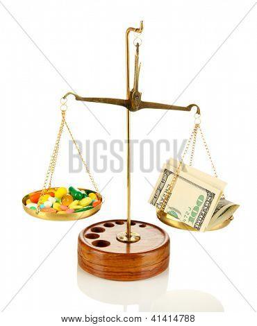 Pílulas e dinheiro em escalas isolado no branco