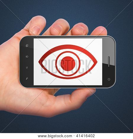 Security concept: smartphone with Eye.