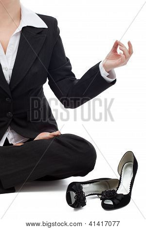 Business Woman Relaxing In The Lotus Position