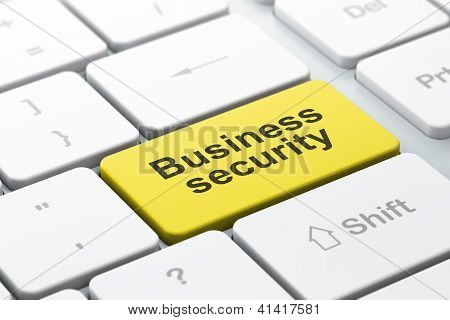 Safety concept: computer keyboard with Business Security