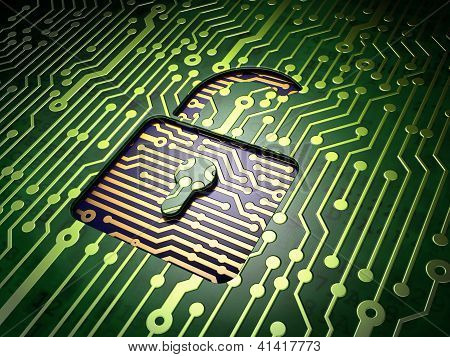 Privacy concept: circuit board with Opened Padlock icon