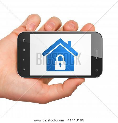 Protection concept: smartphone with Home.