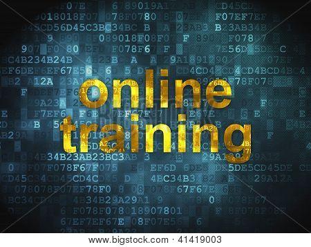 Conceito de educação: treinamento on-line sobre fundo digital