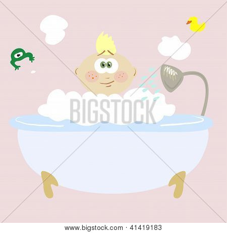 Baby taking a bubble bath in the bathroom. Vector illustration