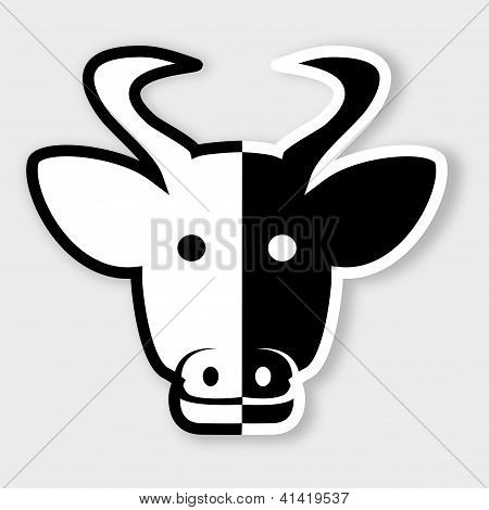 Cow head in black and white