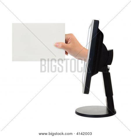 Computer Screen And Hand With Card