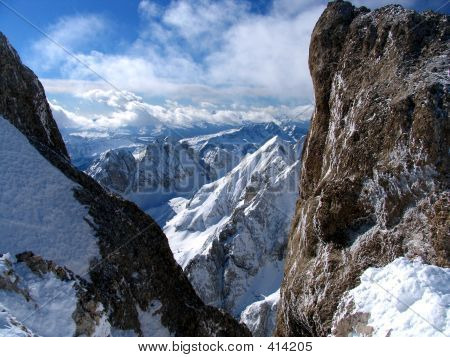 Snowcapped Rocks- Alps- Dolomites.