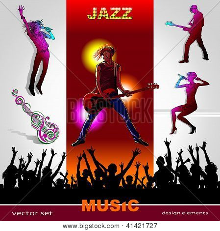 Set Of Music Abstract Background With Musicians Silhouettes