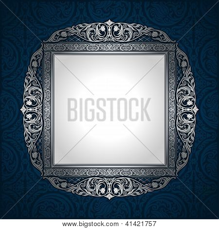 Vintage Picture Frame On Wall, Seamless Damask Background, Antique, Victorian Silver Ornament
