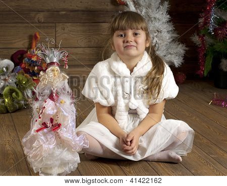 Young Girl In New Year Room