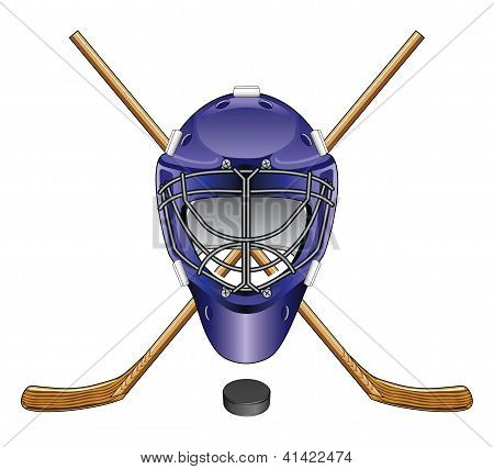 Hockey Mask, Sticks and Puck