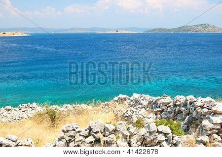 dalmatian rocky beach, croatia