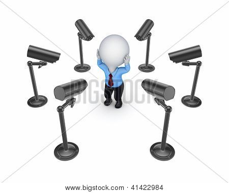 Observation cameras around 3d small person.