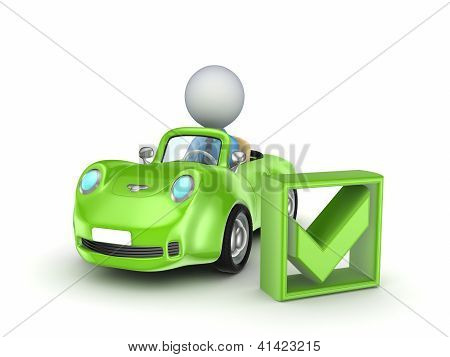 Small car and green tick mark.