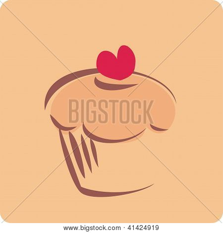Retro vector muffin cupcake silhouette on beige background and red valentines heart. I love sweets!