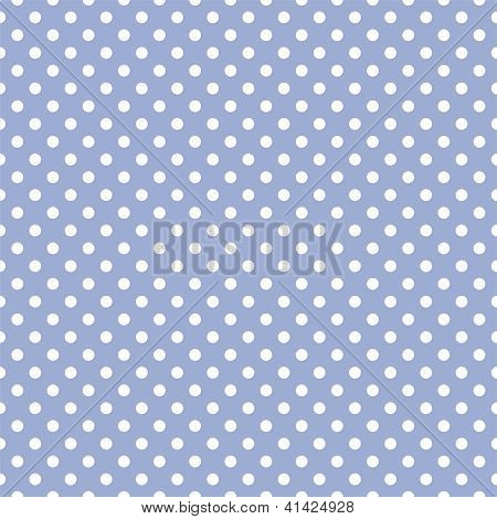 Seamless vector backgraund or pattern with white polka dots on a sweet baby pastel blue background