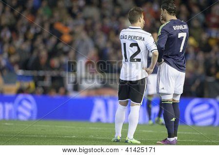 VALENCIA - JANUARY 23: Pereira and Ronaldo during Spanish King�´s Cup match between Valencia CF and Real Madrid, on January 23, 2013, in Mestalla Stadium, Valencia, Spain