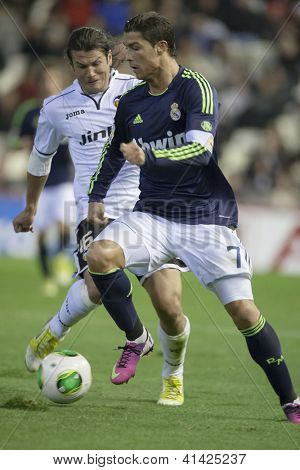 VALENCIA - JANUARY 23: Ronaldo #7 and Valdez during Spanish King�´s Cup match between Valencia CF and Real Madrid, on January 23, 2013, in Mestalla Stadium, Valencia, Spain