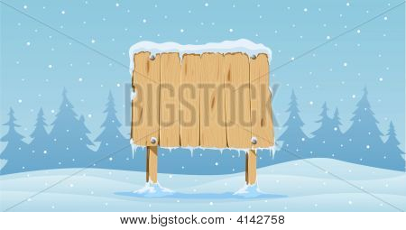 Wooden Blank Board In Snow
