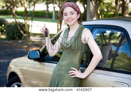 Teen Girl With New Car