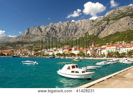 boats in makarska, croatia