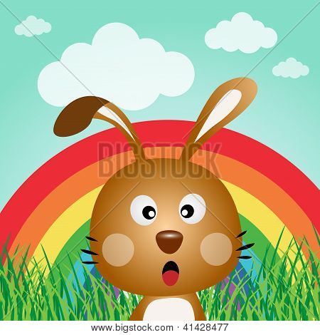 Rabbit with rainbow in the forest